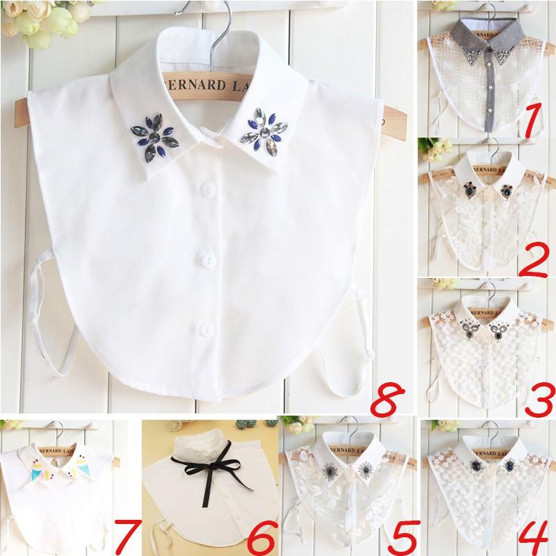 Small Lapel Blouse Top Women Detachable Lapel Shirt Fake False Collar Choker Necklace 9 Styles Men's Ties & Handkerchiefs
