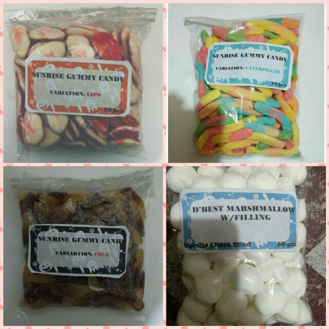 70pcs  gummy candy, 60pcs choco filled marshmallow 4 onli 50