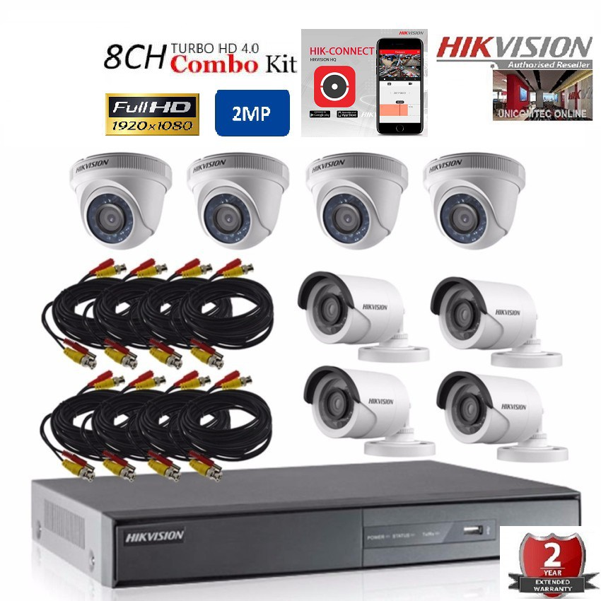 Hikvision 8 Channel Combo Kit 1080P 2MP- No Hard Disk Included
