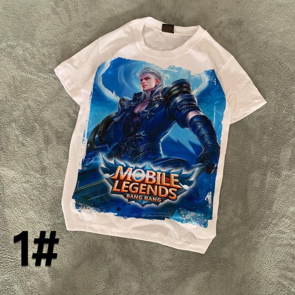 (9 design) MOBILE LEGENDS white T-shirt for men free size