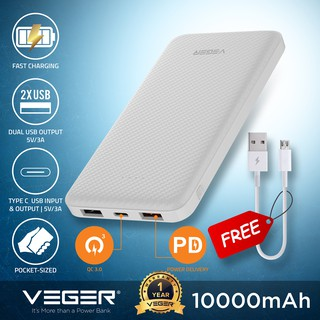 VEGER Powerbank 10000mAh Fast Charge Mini Pocket Power Bank