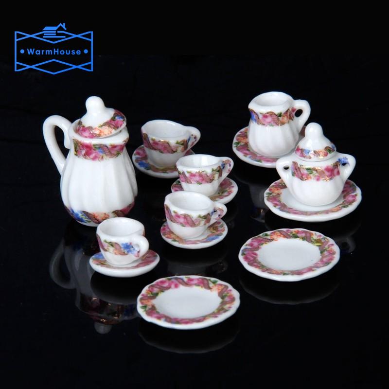 1:12 Dollhouse Miniature 15pcs Dining Ware Daisy Porcelain Tea Coffee Set