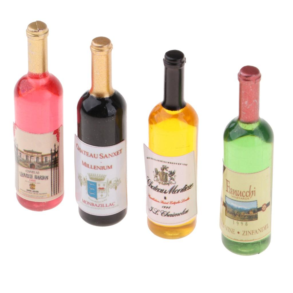 1 LIQUOR BOTTLE forDOLLHOUSE FAIRY GARDEN 5 MINIATURE WINE BOTTLES 4 GLASSES