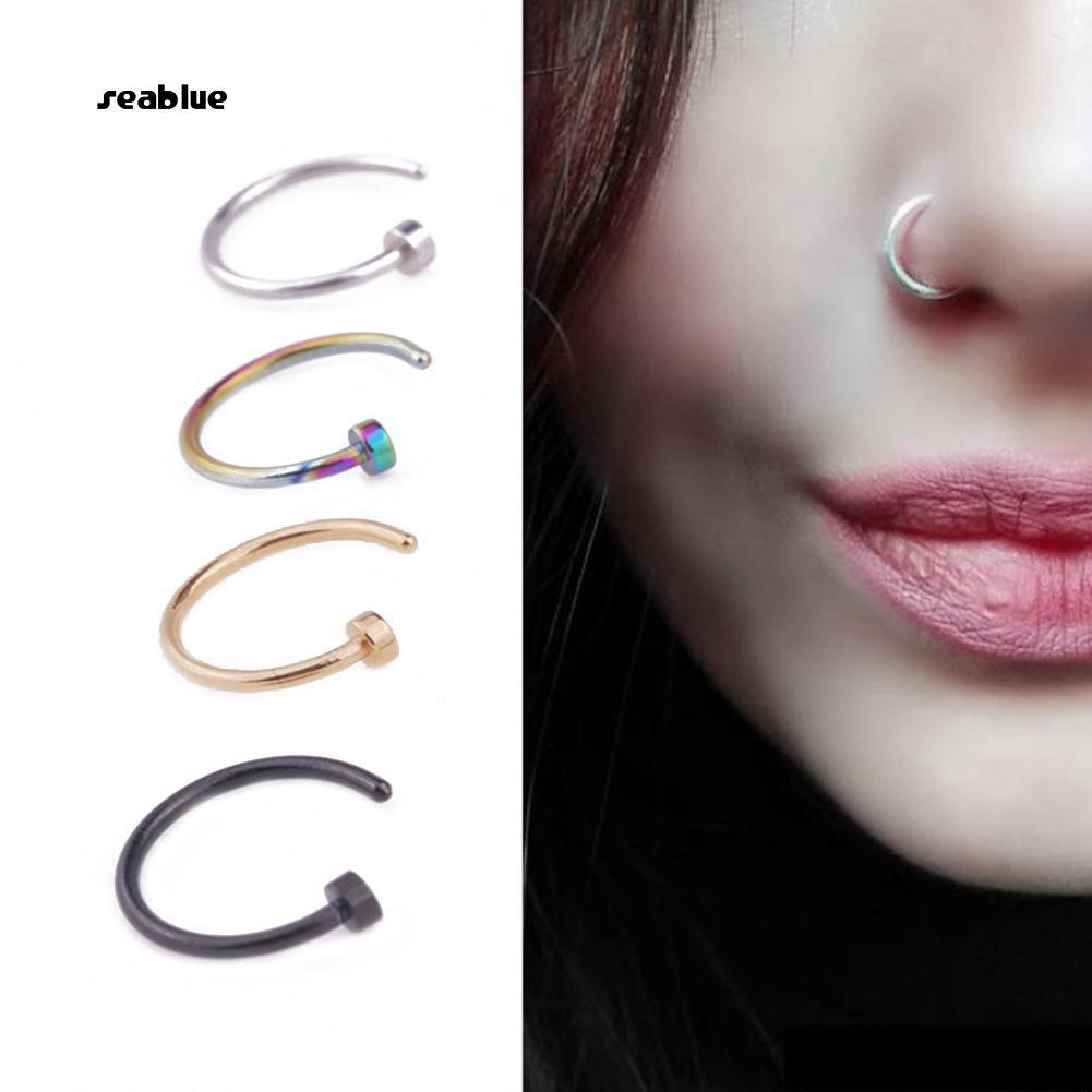 4X Stylish Stainless Steel Body  Horseshoe Nose Piercing Septum Lip Ring SE