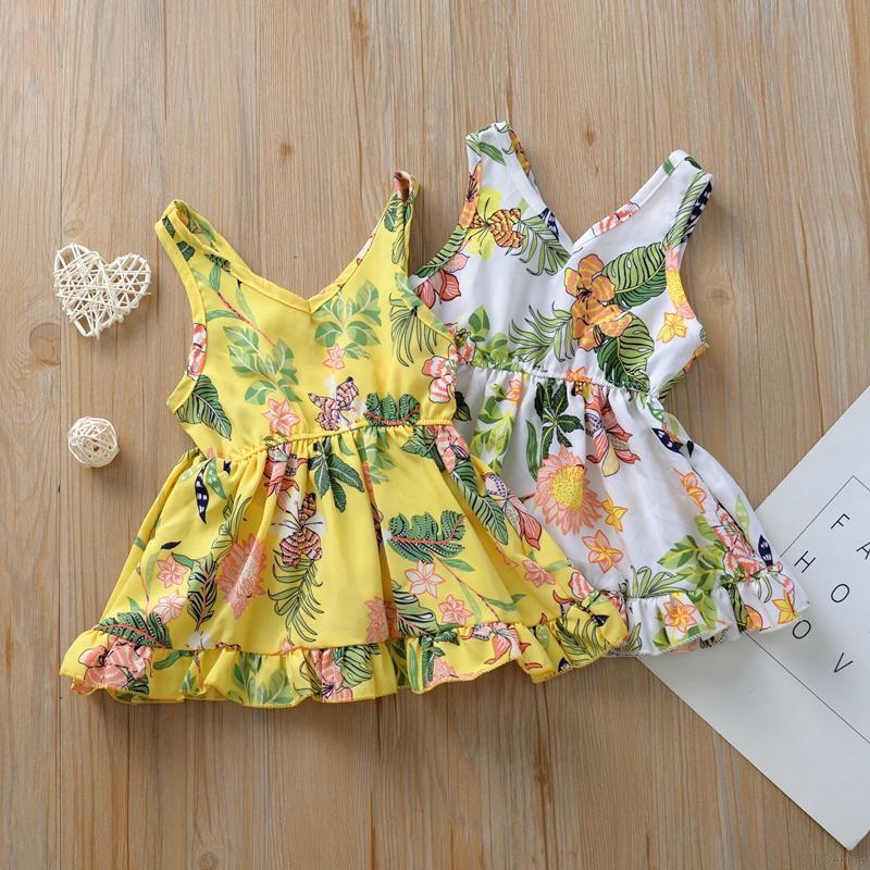 BOBORA Baby Girl Summer Sleeveless Frilly Dress Toddler Flowers Princess Mini Dress 0-4Years