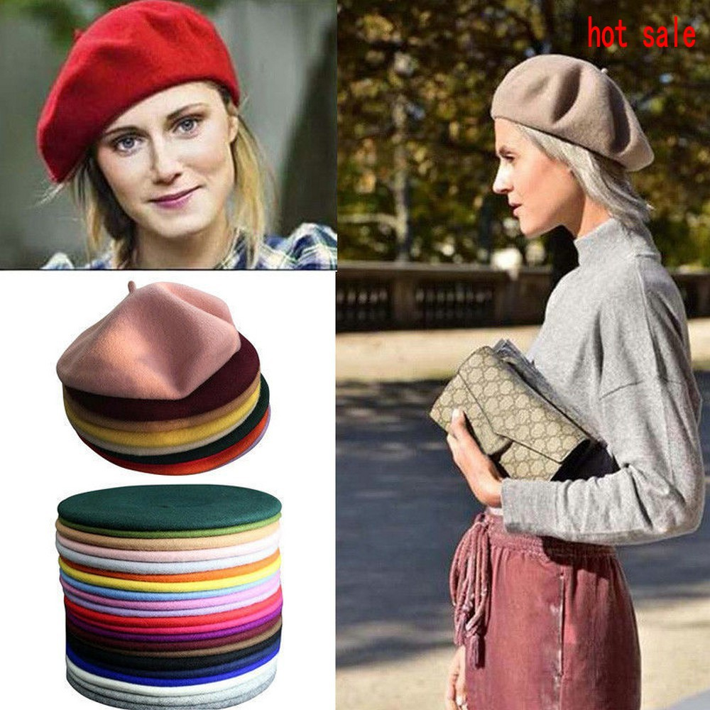 4b408090ccc27 Womens Plain Beret Hat Wool Warm French Beret Winter Autumn Girls Fashion  Hats