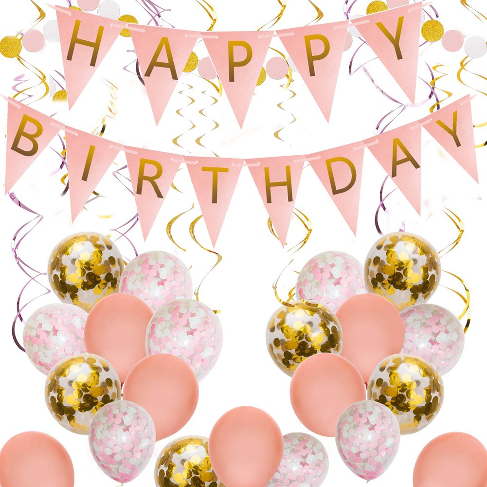 Pink And Gold Happy Birthday Party Decoration Supplies For