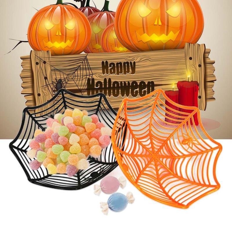 1 PC Plastic Spider Web Candy Basket Bowl Dish Party Favor Supplies Table Decor