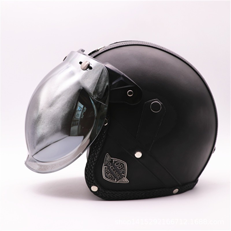Light Brown Harley Motorcycle PU Leather Helmet Open Face Fit For M//L//XL 56-61cm