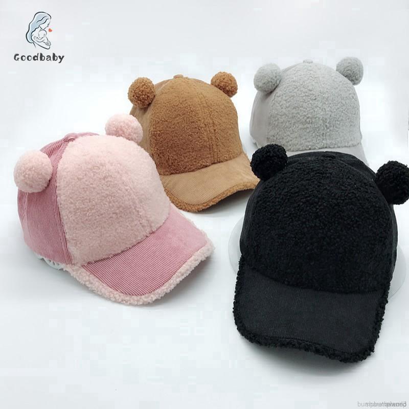 Baby Boys Girl Winter Caps Hats Adjustable Plush Ball Hat Kids Cute Baseball Cap
