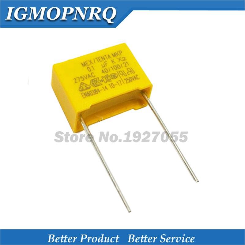 20Pcs 0.1UF X2 104 100NF 275V 10mm Regulation DIP Polypropylene Film Capacitor