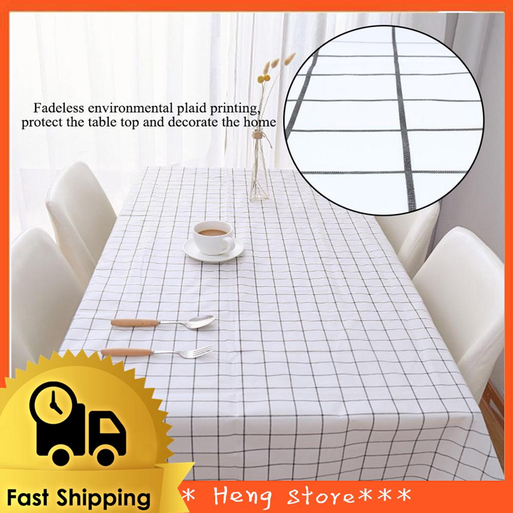 🌟 PVC Oil Proof Dining Kitchen Tablecloth End Table Cloth Cover Protector  Black&White Plaid Print