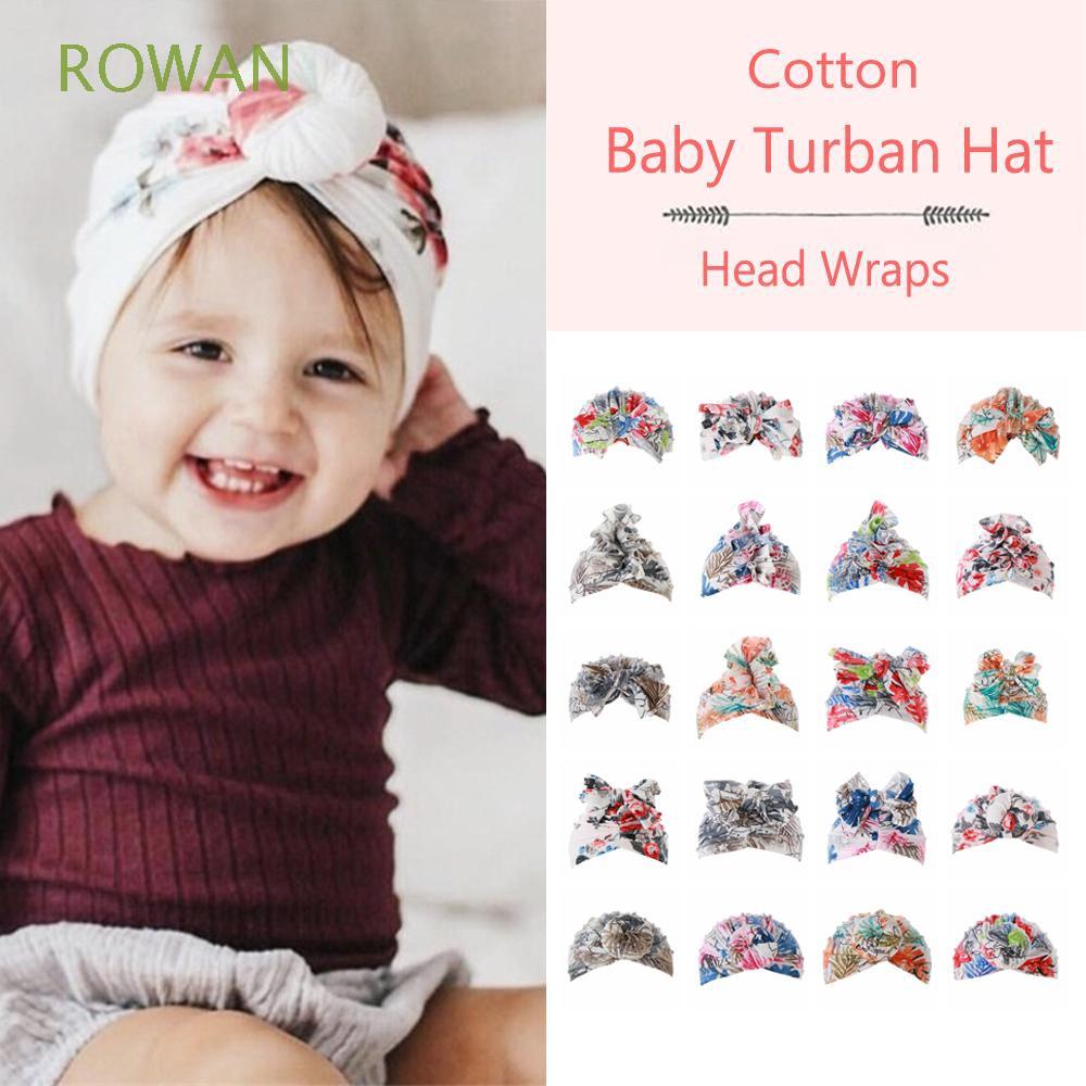 Baby Girls Cotton Soft Turban Head Wrap Hat Nursery Beanie Flower Cap 0-5 Years