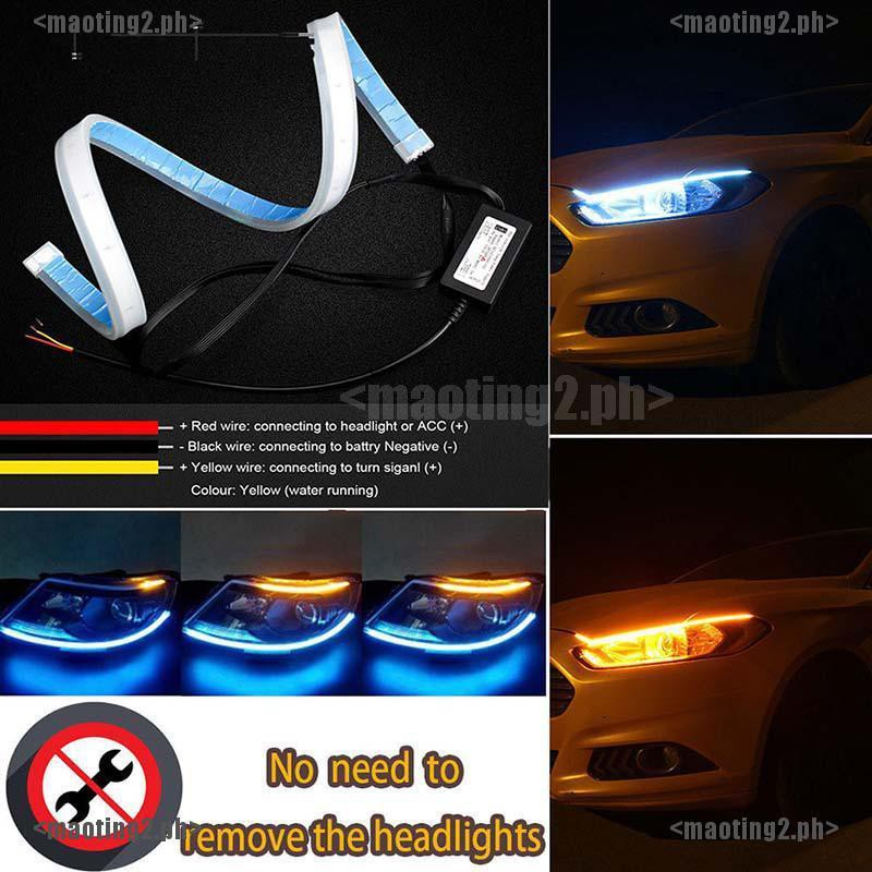 45CM 18 2 X Ultra-Bright Dual Color Amber Universal 12V Daytime Running Lights Switchback Strip Car Headlight White LED Headlight Surface Strip Tube Soft Flowing Bar
