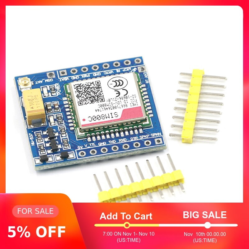 GPRS SIM800C GSM Module 5V//3.3V TTL STM32 C51 with Bluetooth and TTS for Arduino