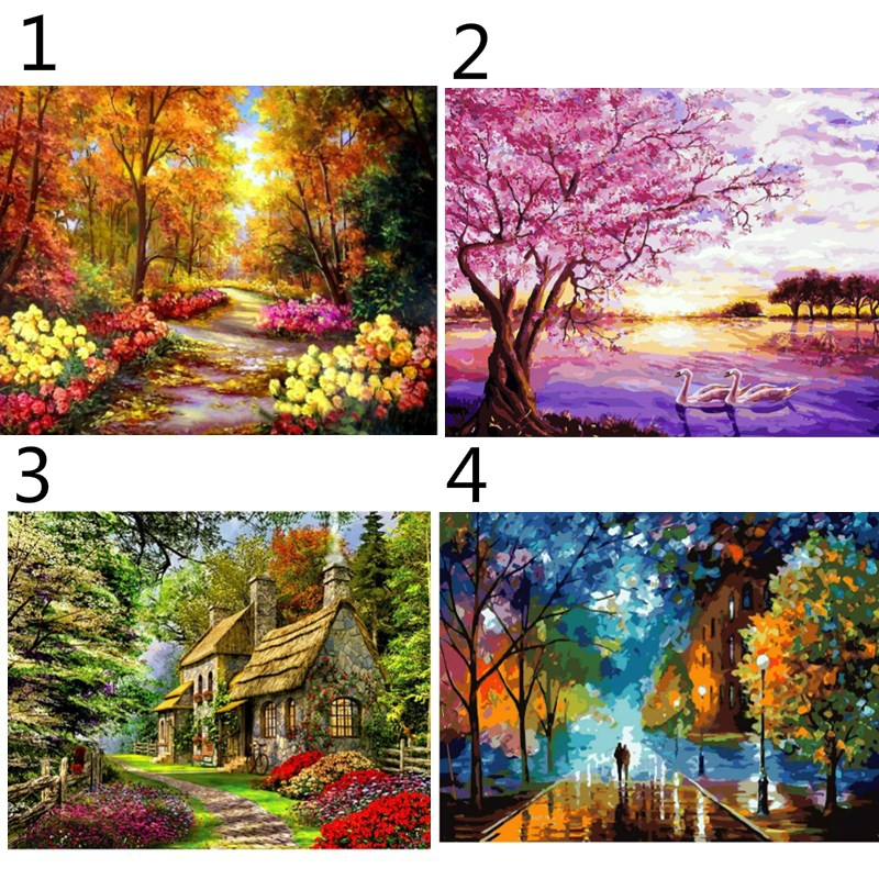 Diy Painting By Numbers Kit Landscape Acrylic Paint