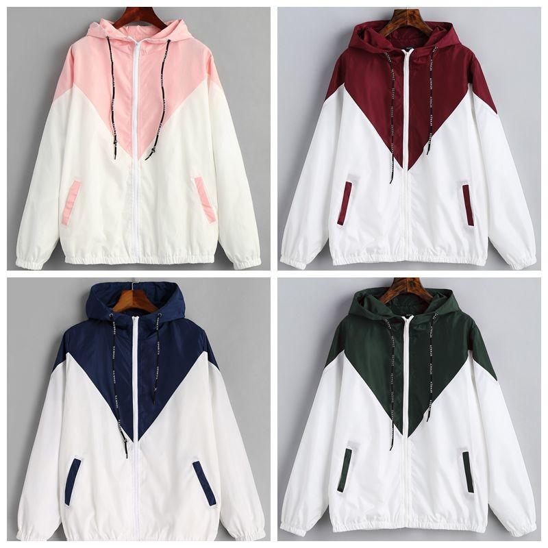 827599325 Hooded Two Tone Windbreaker Jacket