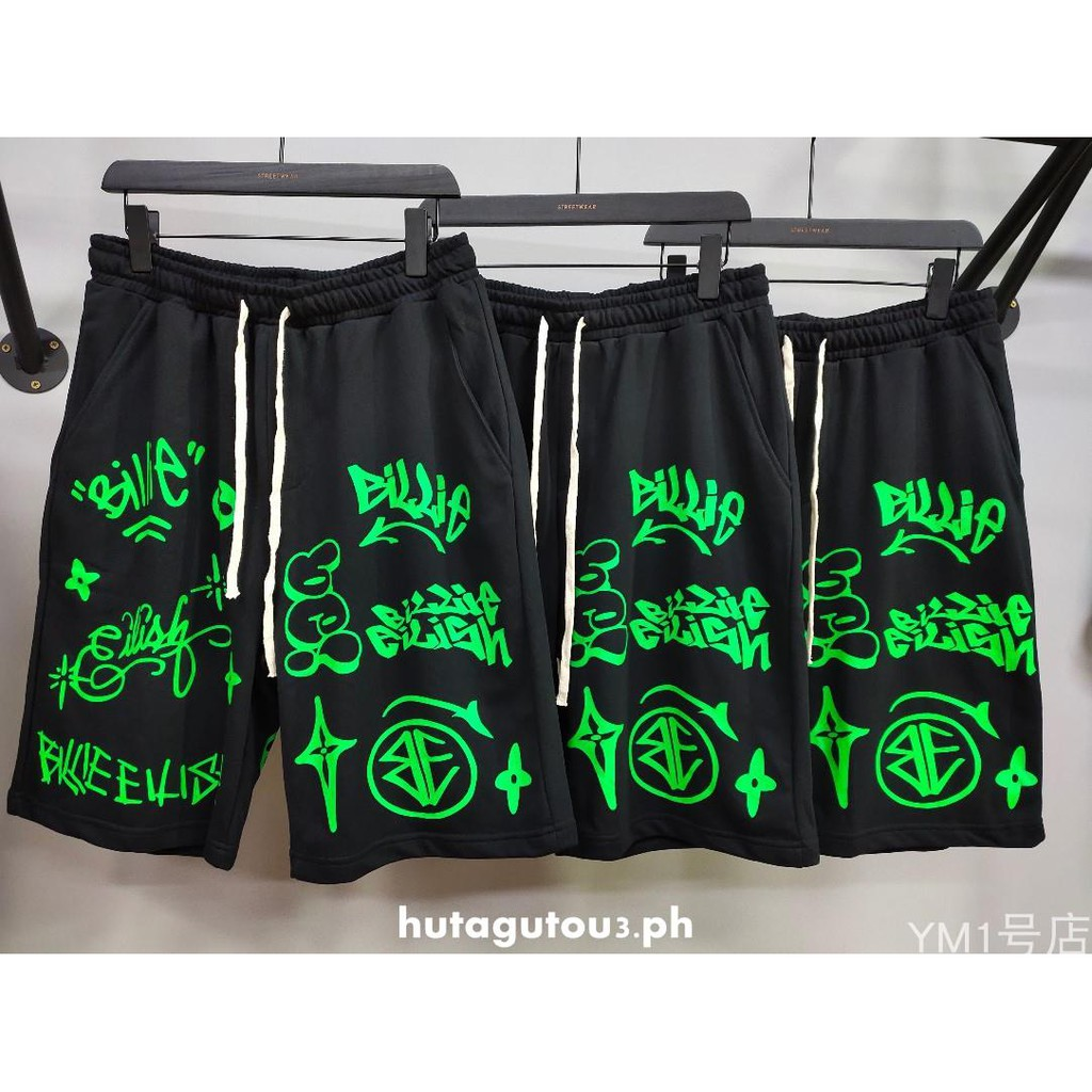 Bi Li Billie Eilish Same Luminous Green Graffiti Printed Loose Shorts Dark Wind Shorts Men S Suit Shopee Philippines