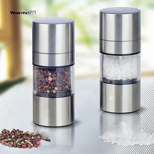 3PCS Manual Stainless Steel Salt Pepper Mill Grinder Muller Tool Kitchen