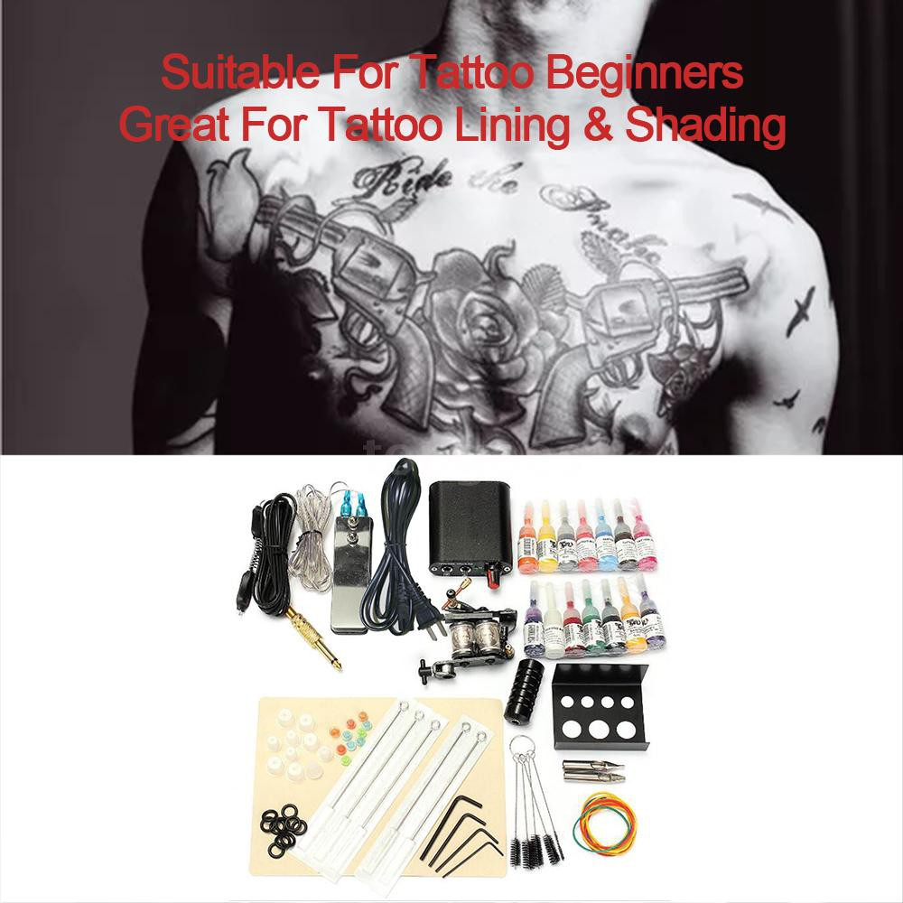Professional Tattoo Machine Kit Tattoo Supplies Complete Tattoo Set With 14  Bottles Of Ink For Tatto