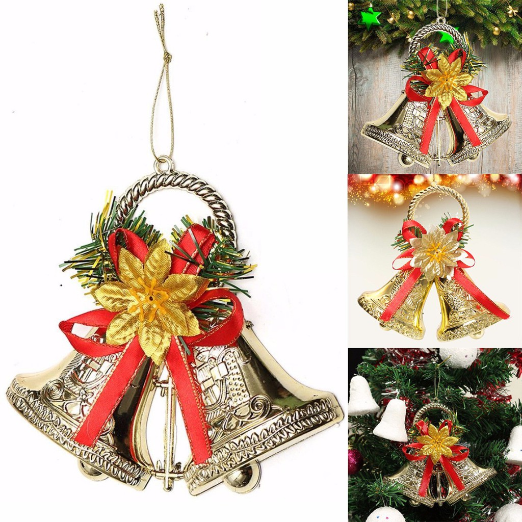Christmas Tree Bowknot Double Bell Hanging Pendant Ornament For Xmas Party Decor