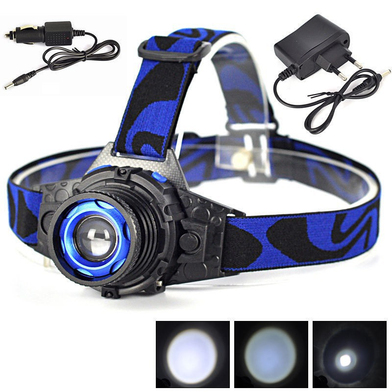 Rechargeable 1000LM Q5 LED 4Modes Zoomable Headlamp Headlight Head Torch+Charger