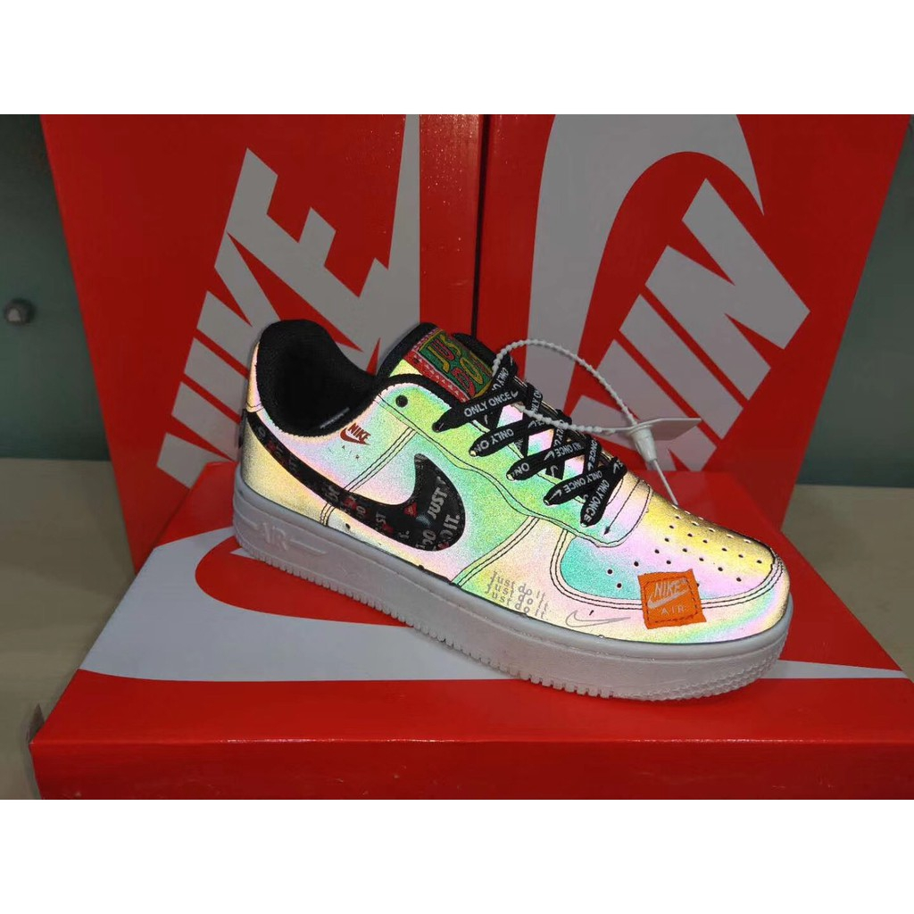 mejor autentico correr zapatos Tienda online Nike Air Force 1 Low Just Do It Hologram Holographic Inspired | Shopee  Philippines