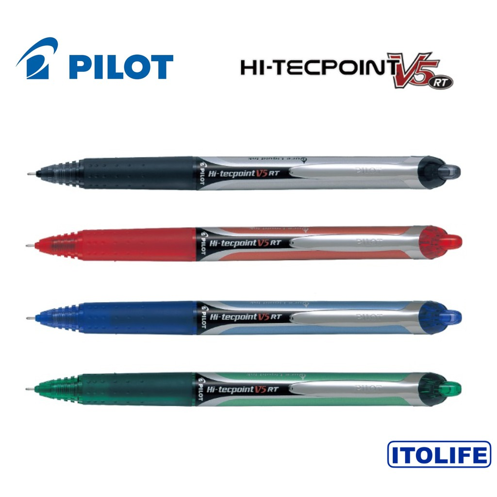 0.7mm Fine Hi-Tecpoint PILOT V7 RT BLACK Rollerball Pen Retractable Refillable