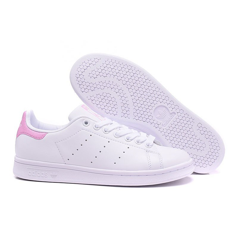 huge discount 248a7 68729 WOMEN Leather White Pink Stan Smith Shoes Casual #867-1