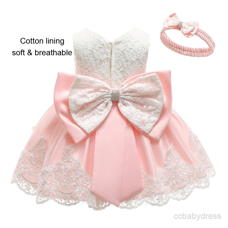 Infant//toddler//baby Lace Pageant Dress from new born to size 5T with hairbow