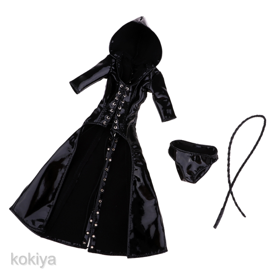 "1//6 Scale Black PU Witches Hooded Coat with Whip for 12/"" Female Figure Model"