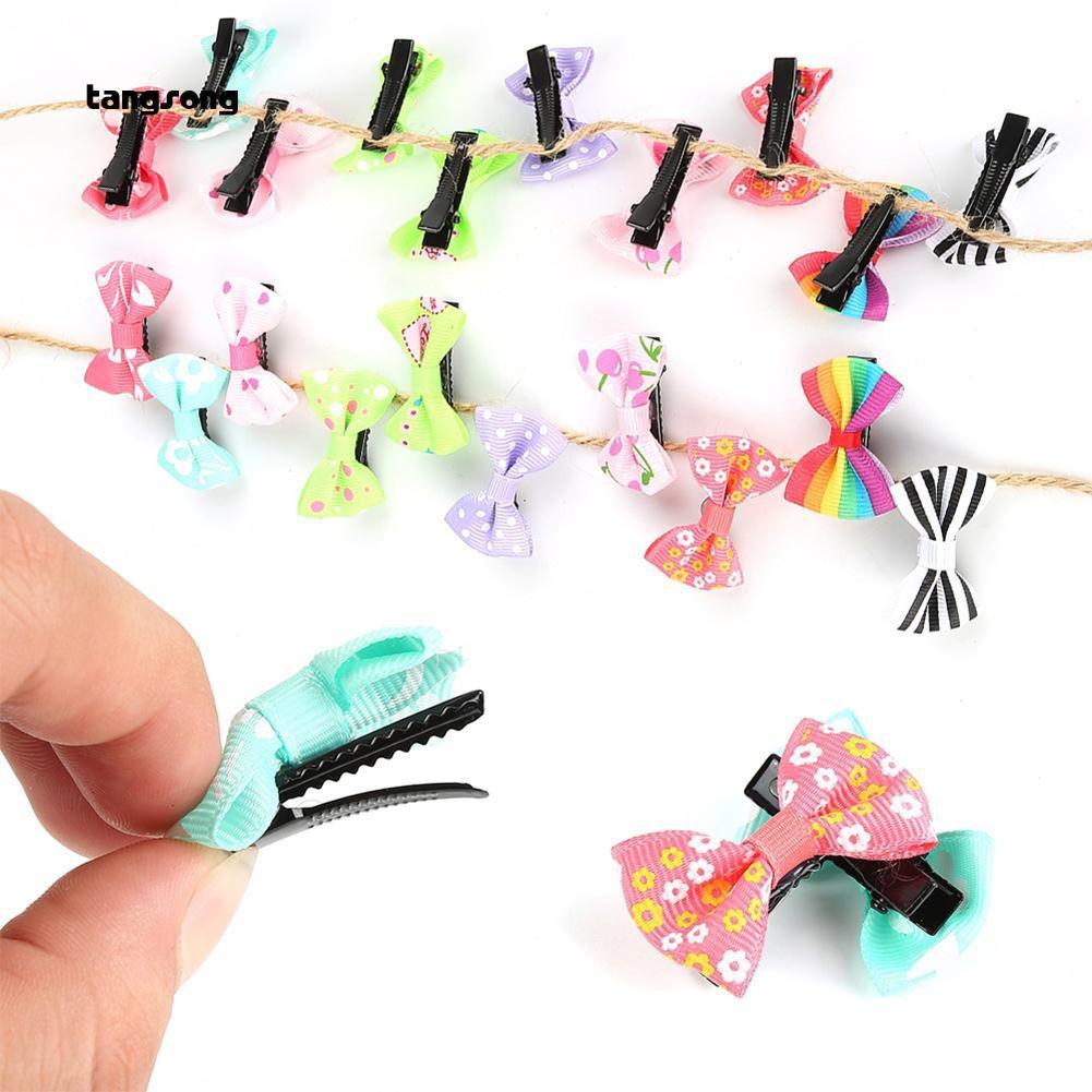 10Pcs Dot Colorful Bows Tie Baby Girls Barrettes Hairpin Hair Clip Set Headwear