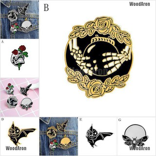 Rose Skull bat bee moon crystal ball Badges Gothic Design Enamel Brooches Pin SP