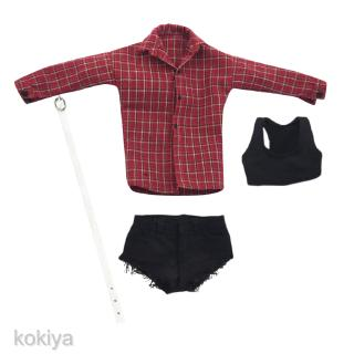 1//6 Female Body Long Sleeve Plaid Shirt Red for 12/'/' Phicen Action Figures