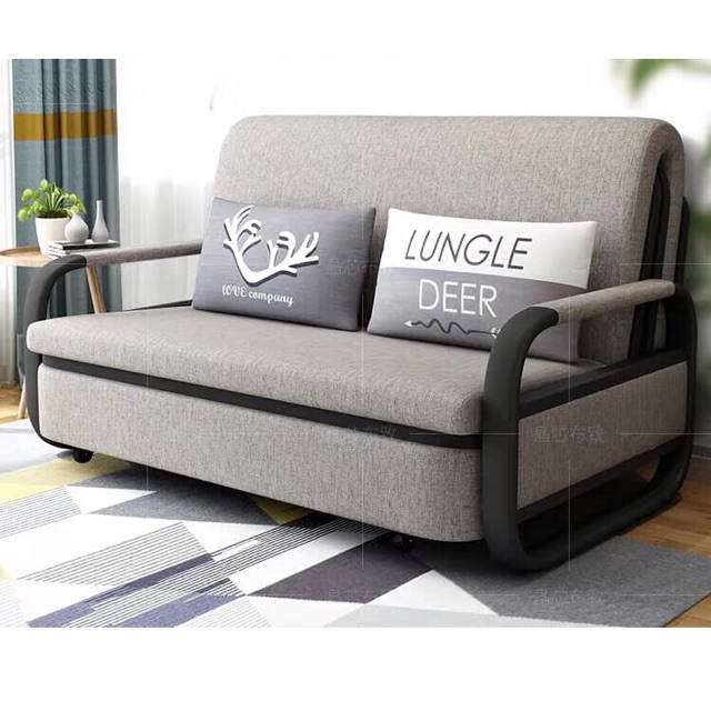 High Quality Gray Sofa Bed 1m, 1.2m, 1.5m Folding Bed with Pillows