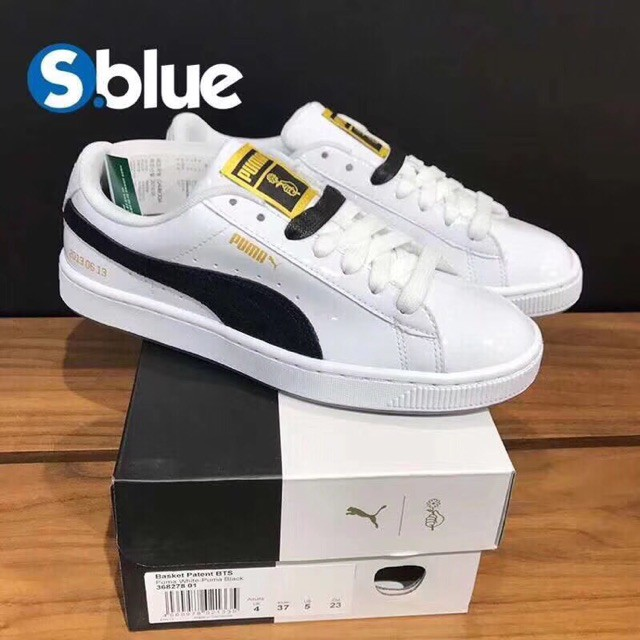 reputable site f6f39 bae3e 100% Original READY STOCK PUMA x BTS Basket Patent Sneakers