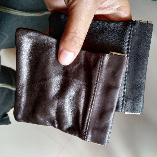 Men Ladies Genuine Leather Coin Pouch Snap Top Purse Strong Metal Spring Closure Small Change Bag