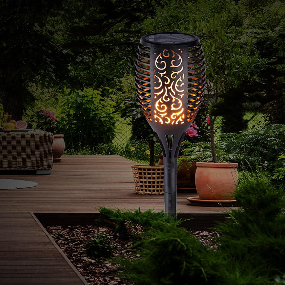 33LED Light Control Solar Flame Light Outdoor Waterproof Garden Torch Lamp Style