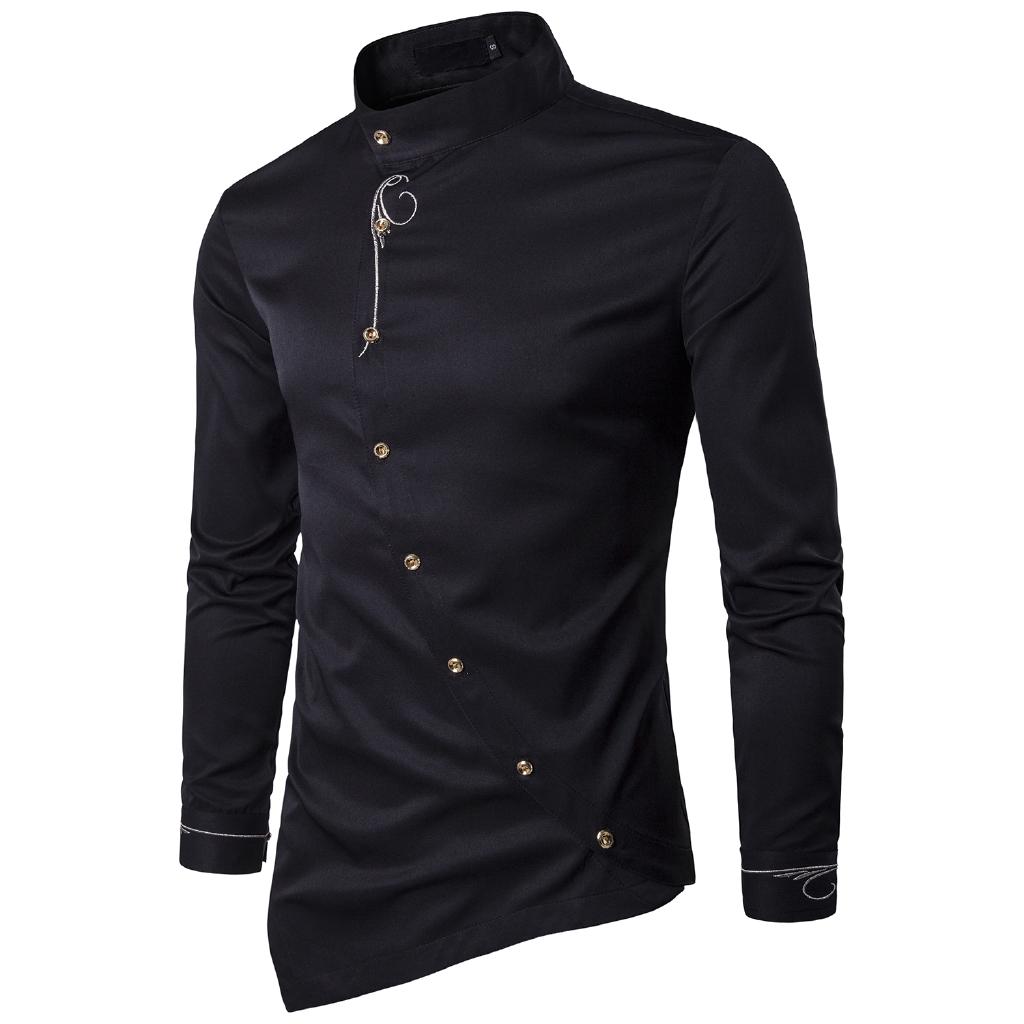 YUNY Mens Short-Sleeve Oversize Button Color Splice Top Tees Polo Black M