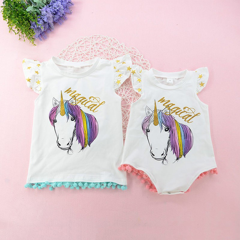 29abe0bba853 Newborn Baby Little Sister Romper Toddler Kids Big-Sister T-shirt Tees  Clothes
