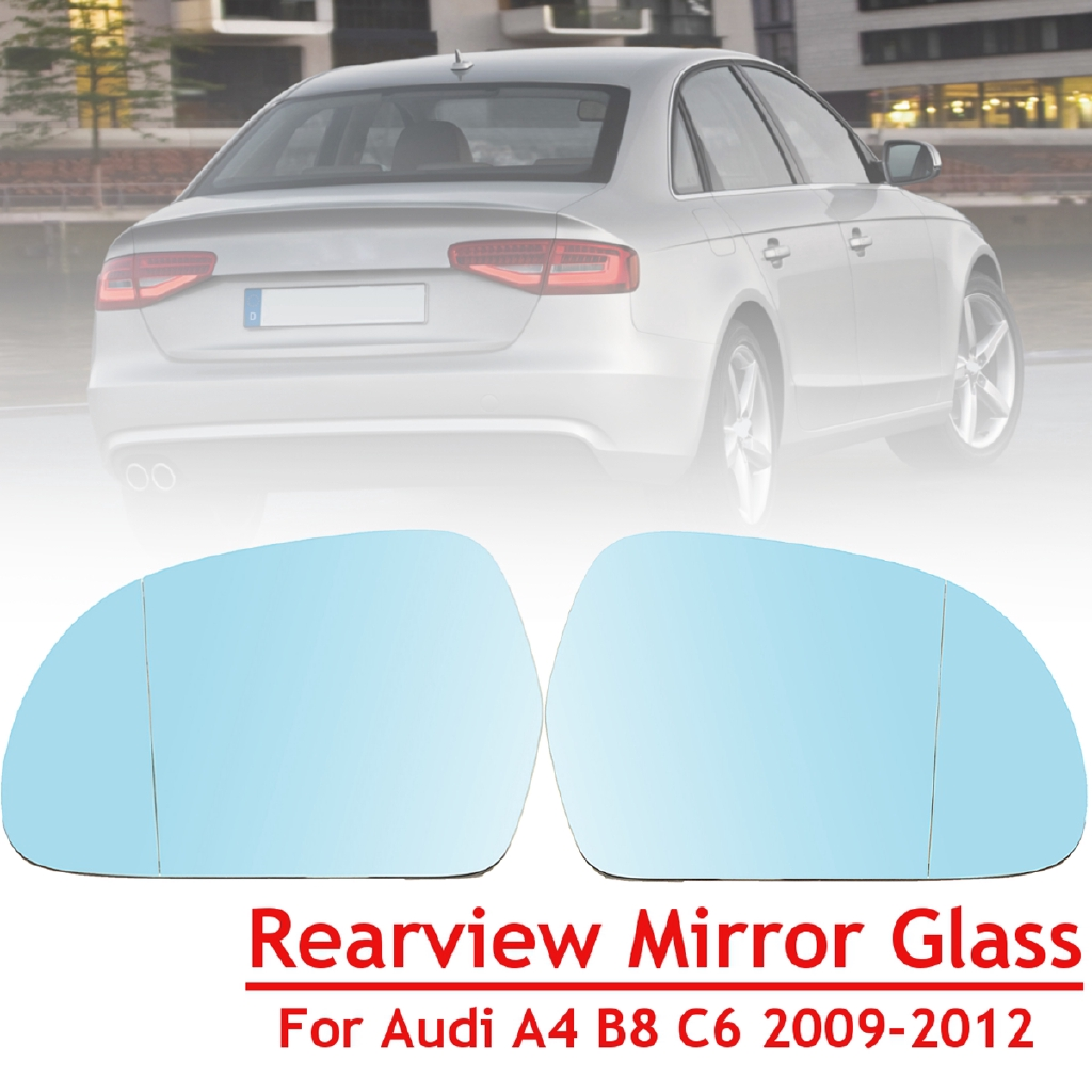 Blue Left/Right Heated Rearview Mirror Glass For Audi A4 B8