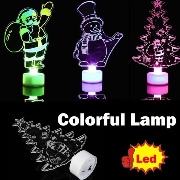 Festive & Party Supplies 1pc Multi Color Led Light Clear Acrylic Christmas Tree Snowman New Mood Lamp Night Box Button Batteries Included Colorful Fine Quality