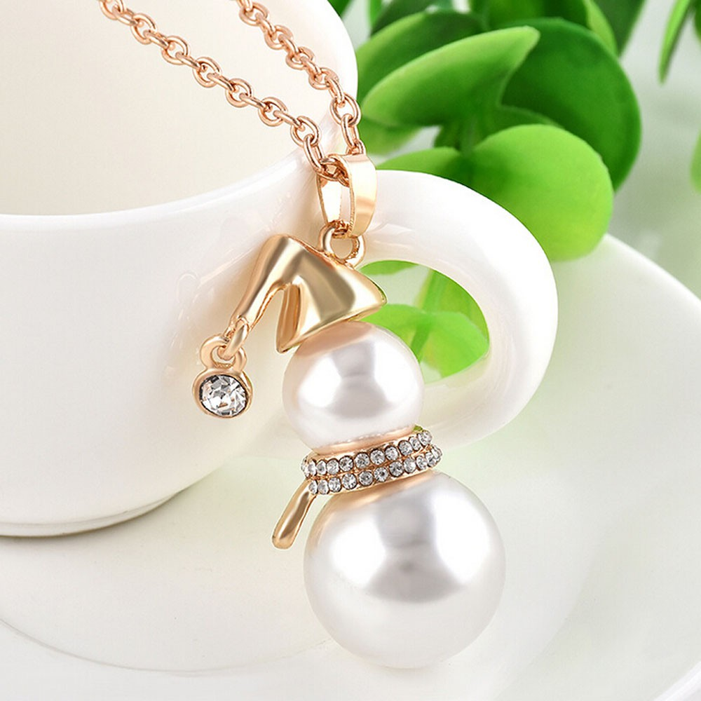 Simulated-pearl Crystal Snowman Christmas Necklace Pendant Chokers Women