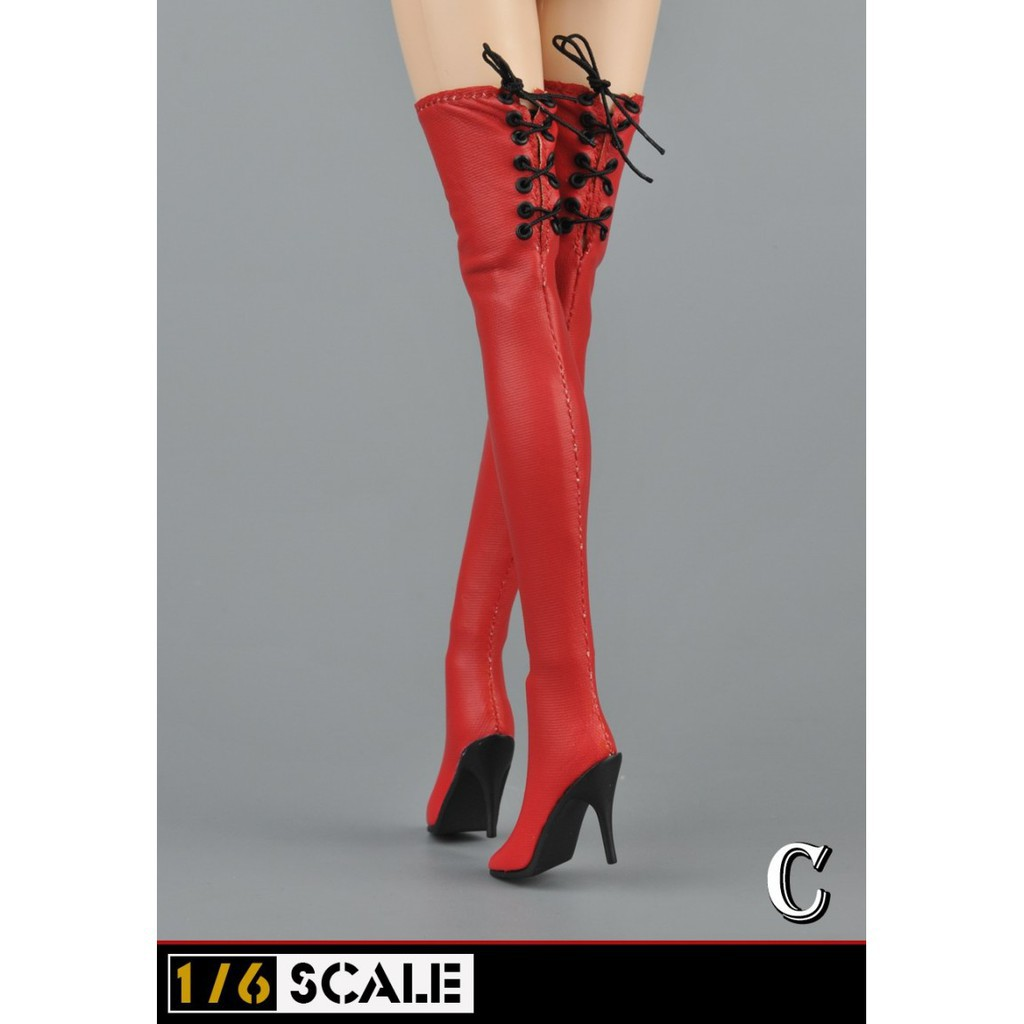 536a32398f0 1:6 Female High Heeled Leather Shoes Long Boots Model for action figure body