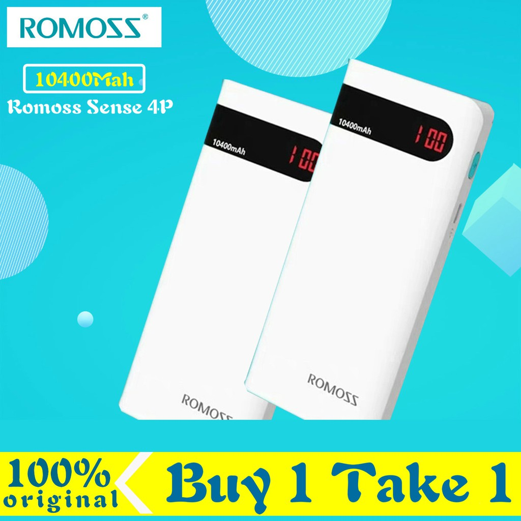 Buy 1 Take 1 100% Original Romoss Powerbank Sense4 Sense 4 10400mAh Power Bank ( White / Black)