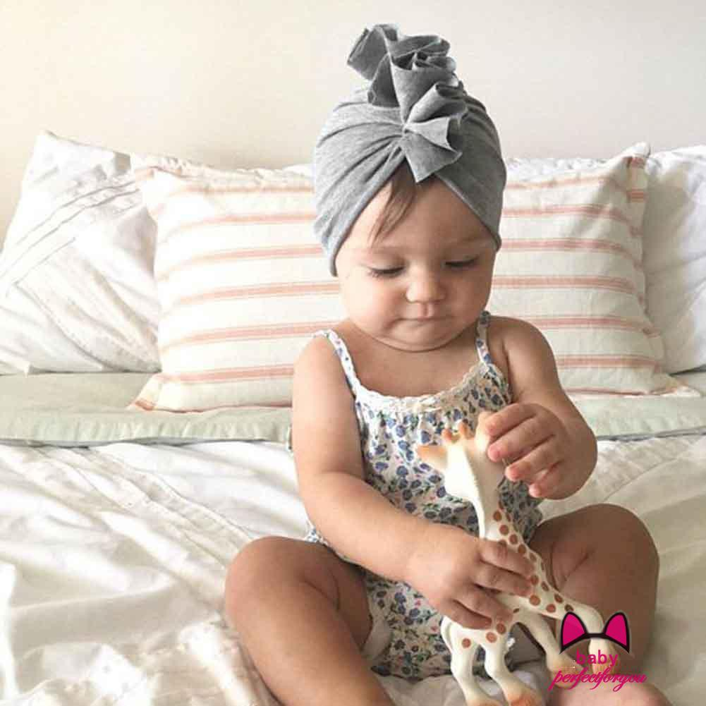 Newborn Baby Turban Knotted Head Wrap Floral Print Headband India Hat Cotton Cap