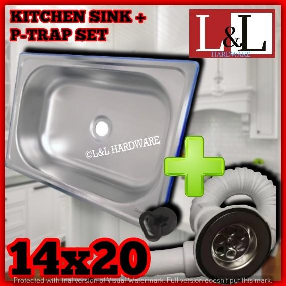 184 1004 14x20 Stainless Sus304 Kitchen Sink Single Trough Household Dishwashing Kitchen Sink Shopee Philippines