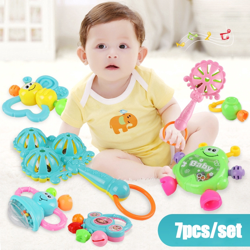 7Pcs Newborn Toddler Baby Shaking Bell Rattles Teether Toys Kids Hand Toys RS