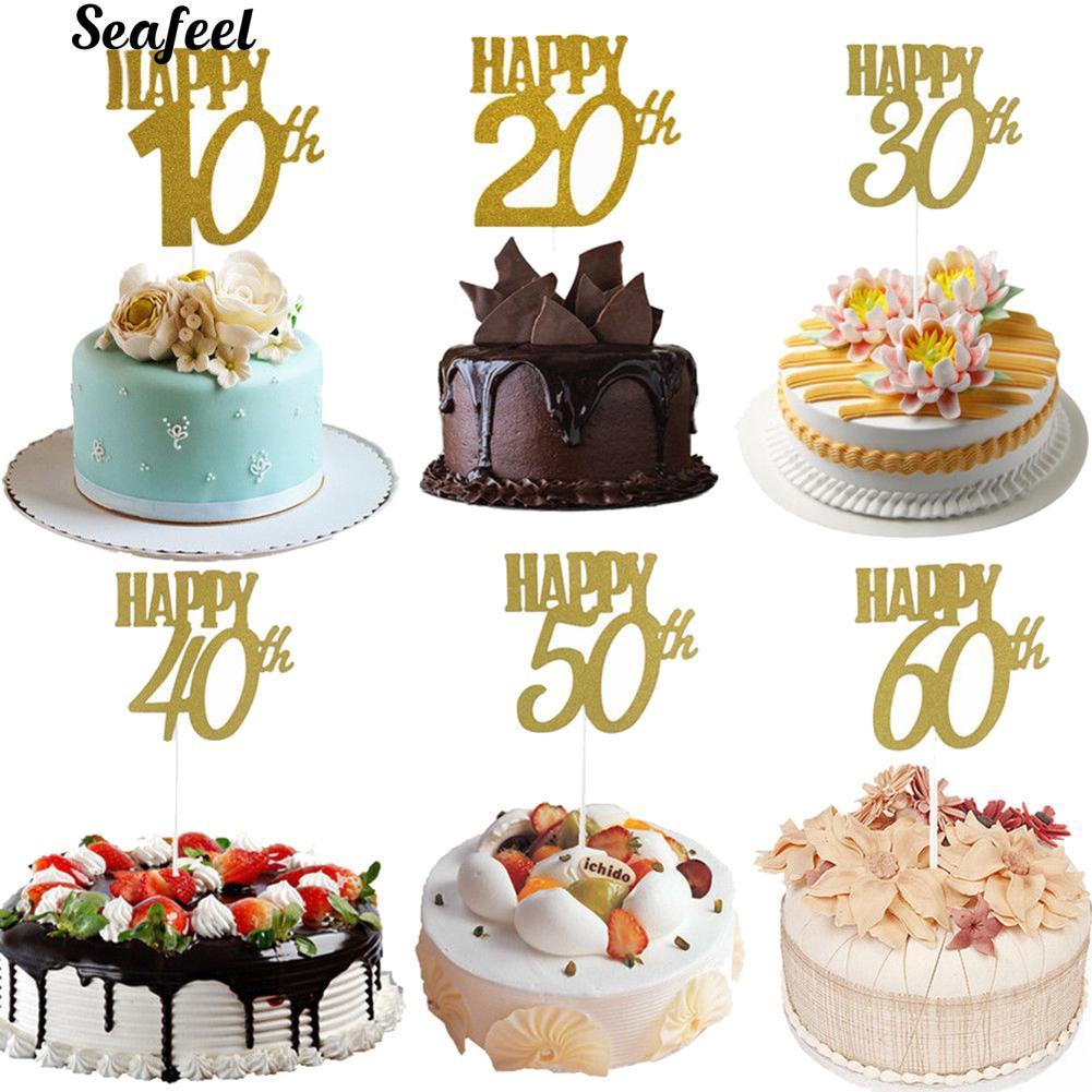 Outstanding Sf Happy 10 20 30 40 50 60Th Love Cupcake Cake Topper Insert Funny Birthday Cards Online Ioscodamsfinfo