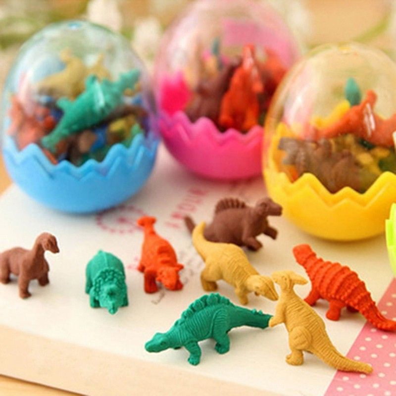 JZK 24 Dinosaur eggs with little rubber dinosaur toy mini pencil eraser set...